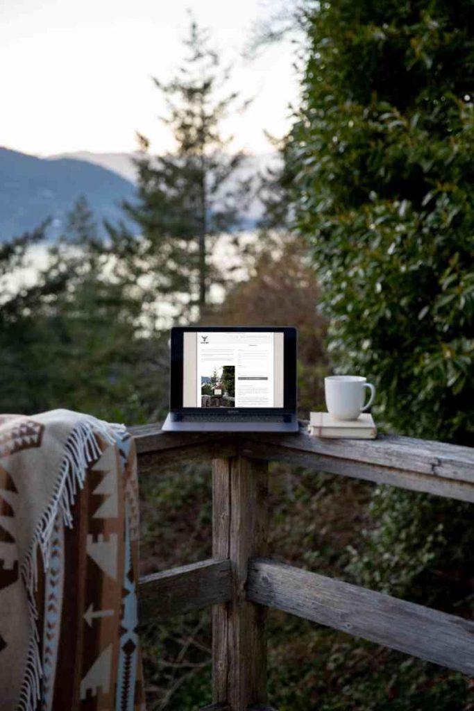 Laptop auf Holzbrüstung vor Wald und See Panorama